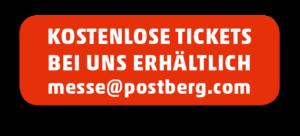 Schreiben Sie uns an messe@postberg.com und Sie erhalten Ihr kostenloses Ticketticket per Online-Code zum Selbstausdrucken.